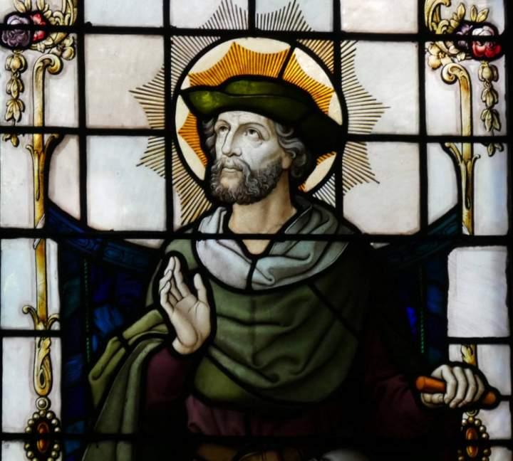 Fensterbild Heiliger Isidor in der St.-Helena-Kirche in Bocholt-Barlo