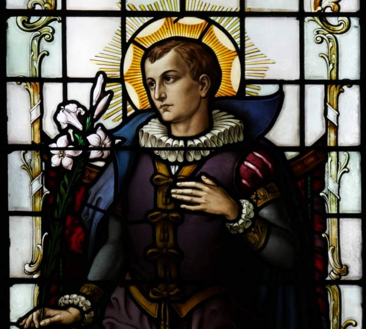 Fensterbild Heiliger Aloysius in der St.-Helena-Kirche in Bocholt-Barlo
