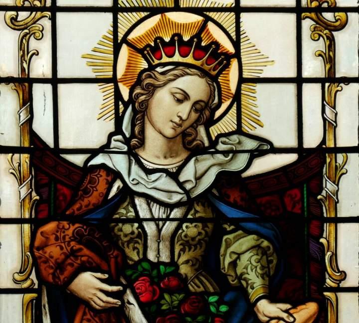 Fensterbild Heilige Elisabeth in der St.-Helena-Kirche in Bocholt-Barlo