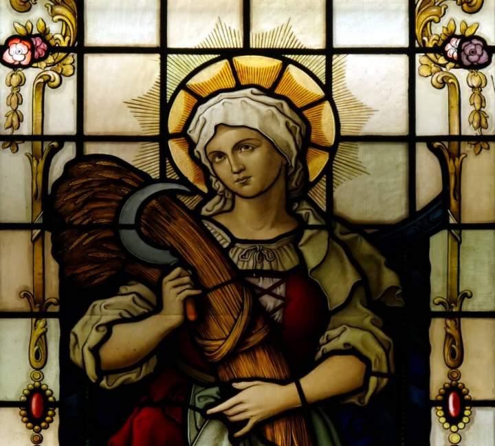 Fensterbild Heilige Notburga in der St.-Helena-Kirche in Bocholt-Barlo