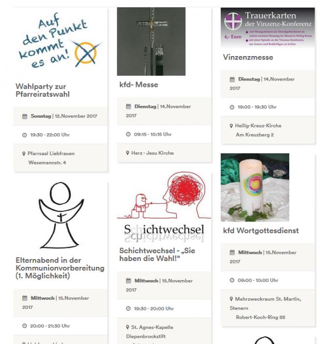 Kalender als dynamische Litfassäule mit Terminen und Veranstaltungen der Pfarrei Liebfrauen Bocholt