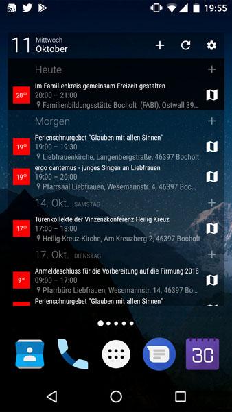 Abonierbarer Smartphone Kalender der Pfarrei Liebfrauen Bocholt www.liebfrauen.de