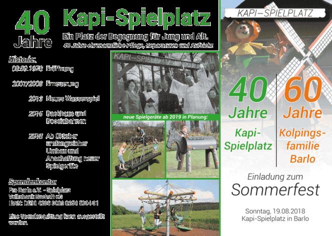 Sommerfest Barlo 2018 - 60 Jahre Kolpingfamilie Barlo - 40 Jahre Kapi-Spielplatz