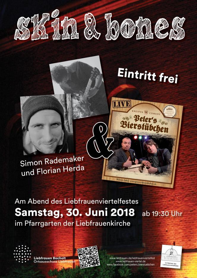 Konzertabend im Pfarrgarten Liebfrauen mit skin and bones und Peter`s Bierstübchen am 30.06.2018